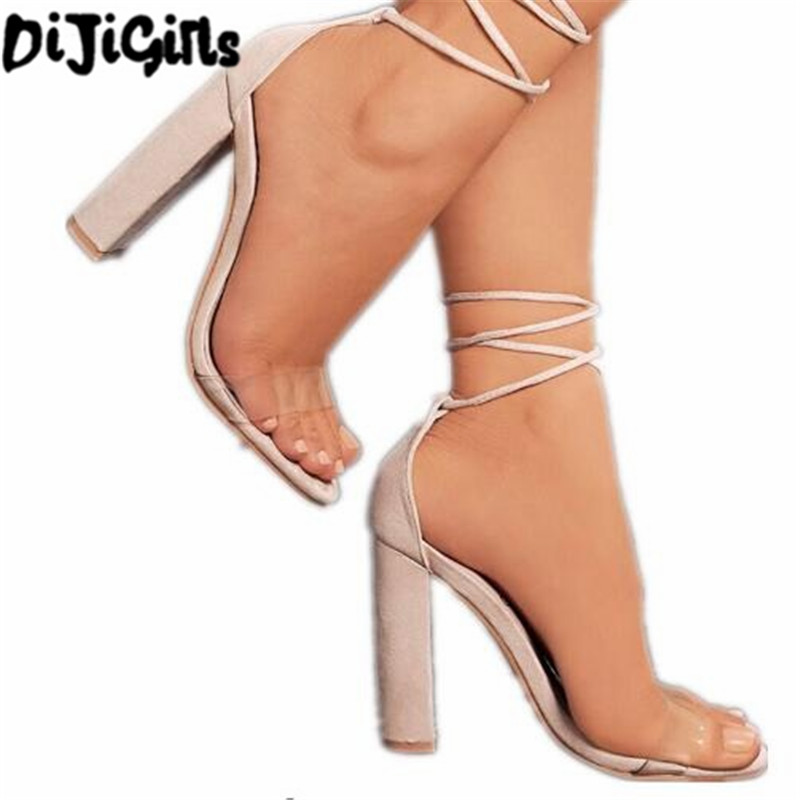 Suede Leather High Heels Sandals Woman Lace up Transparent Shoes 2017 Summer Ankle Strap Women Thick Nude Heels Shoes pearl high heels shoes thick green women strange suede abnormal catwalk genuine leather pointed toe strap mary jane lace up