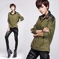 Calles moda personalidad verde del ejército Women Pullover camisa clásica Liberal gran camisa de manga larga ocio placas de remaches