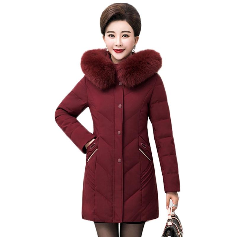 Oversized Women Winter Jacket   Parkas   New Hooded Medium Long Outerwear Thicke Warm White Duck Jacket High Quality Coat XL-13XL