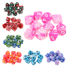 10pcs Acrylic 10-Sided Dice D10 Polyhedral Dice Double Color Dice for  for Table Games Dungeons and Dragons RPG MTG Accs 10pcs set игры мульти sides dice d10 gaming кубики игры играть 5 цвет