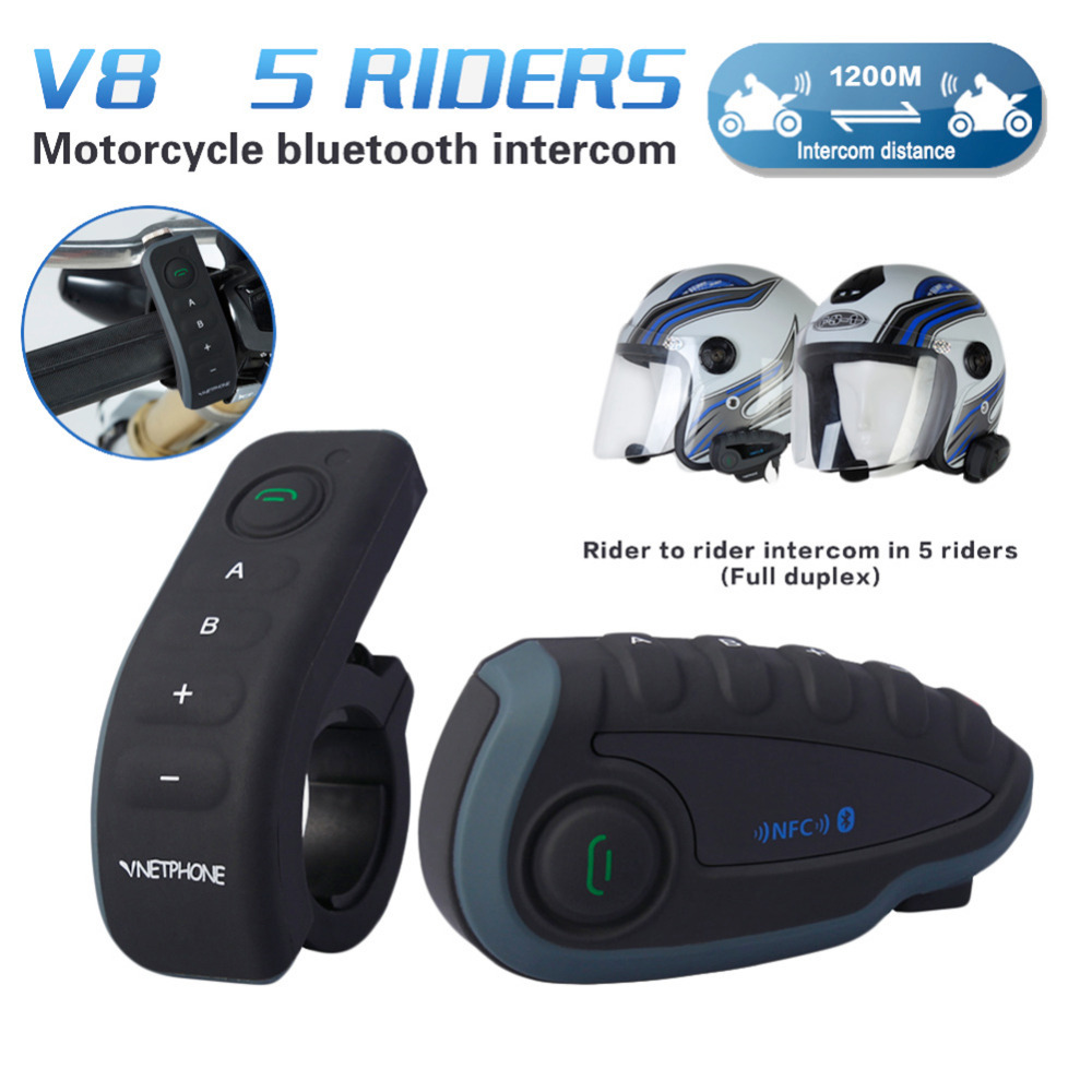 V8 BT Interphone With Remote Controller FM NFC For 5 Riders Bluetooth Motorcycle Intercom 1200M Intercomunicador With Gifts lexin 2pcs r6 1200m bt motorcycle wireless intercom helmet headsets for 6 riders intercomunicador bluetooth para motocicleta
