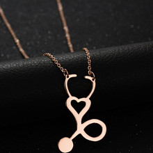 LINSOIR 2017 New Fashion Rose Gold Color Heart Stethoscope Necklace Women Stainless Steel Necklaces & Pendants for Women Gift