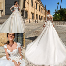 BONJEAN 2019 Wedding Dresses Long Sleeves Sweep Train