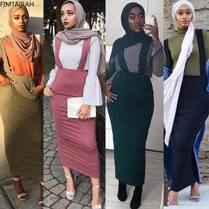 Image 5 - Женская длинная юбка макси на подтяжках, хлопковая юбка с поясом в мусульманском стиле, большие размеры, SK9018