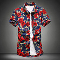 Hombres Moda Camisa Masculina NUEVO 2017 Summer Style hombres de Alta Calidad de Rose Imprimió la camisa Impresa Flor Blusa Casual Brand 5XL