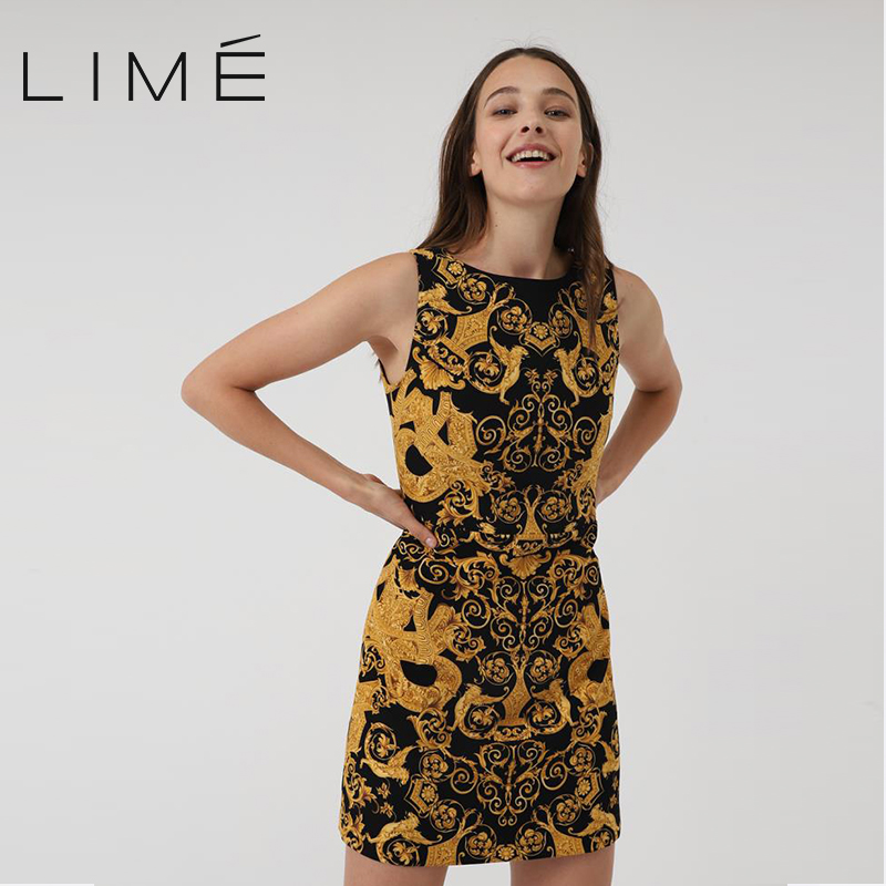 Dress with geometric print LIME woman 400|2415|544 rose print sleeveless sheath dress