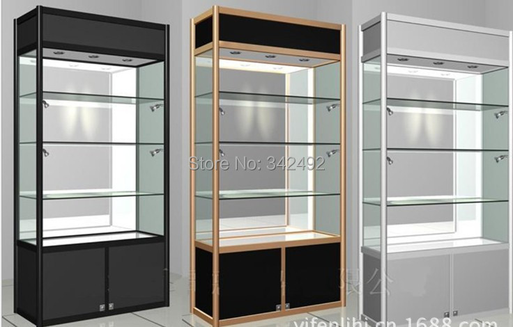 Glass Display Showcase /glass Cabinets.wood+glass Led Case ,factory  Directly Sale