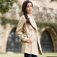 INMAN 2017 Women Autumn Dress Solid Color Cotton Lapel Trench Coat