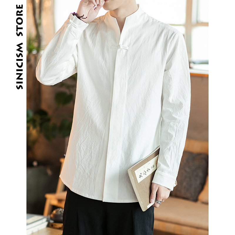 Sinicism Store Long Sleeve Shirts 2019 Mens Cotton And Linen Shirt Men Chinese Style Causal Slim High Quality Men Clotihng 5XL