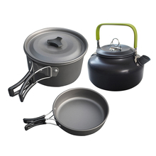 Outdoor Camping Cookware Combination Pot Bowl Teapot Portable Cooking Picnic Equipment Mess Kit Backpacking Gear цена и фото