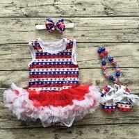 Không tay bé Trẻ Em 4th of Tháng Bảy Yêu Nước petticoat Có Thể Tưởng Niệm ngày outfit với phụ kiện baby girl thứ tư của Tháng Bảy trang phục