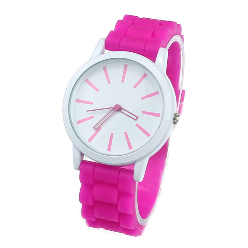 Luxury Women Watch Silicone Rubber Unisex Quartz Analog Sports Women Fashion Wrist Hot Pink For Lovely Girls #4m14 (4)