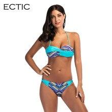 Colorido Conjunto de Biquíni Mulheres Sem Encosto Baixo Swimwear Cintura Flounce Beach Wear Brasileiro Biquini Maiô Feminino