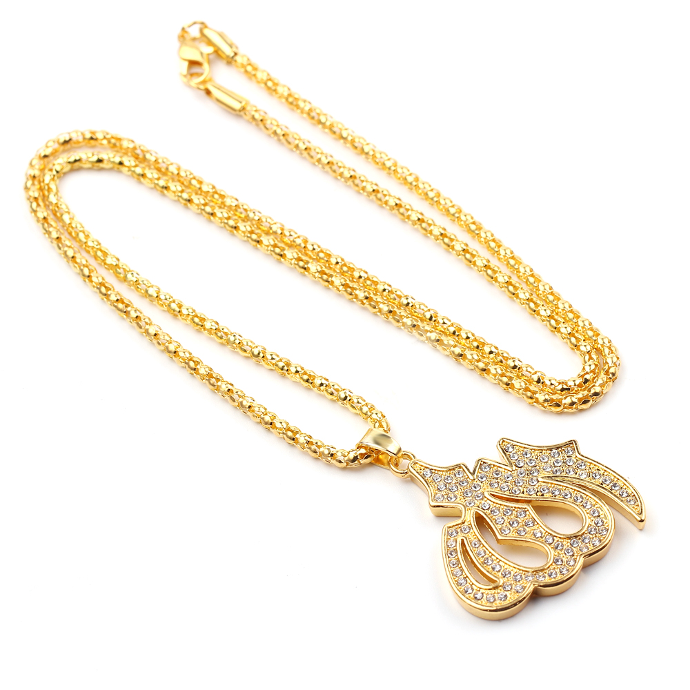 Vintage Muslim Islam Allah Pendant Necklaces For Women Gold Color Cubic Zirconia Necklace Religious Muslim Jewelry