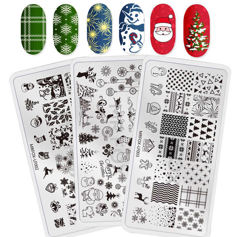 3PC mrfox Series Nail Stamping Plates Christmas Template 12 5cm Stamping  For Nails Snowman Snowflake Elk Stencils for nails