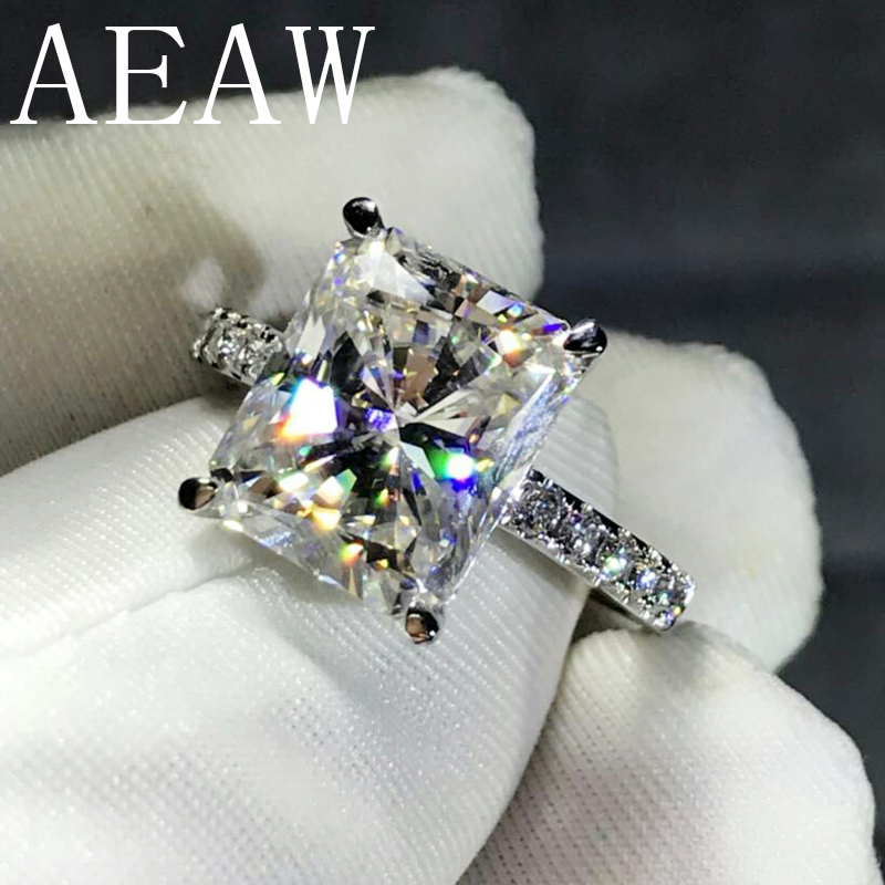 AEAW 4CT مشع قص GH المويسانتي خاتم الخطوبة في 925 الفضة الماس غرامة مجوهرات للنساء VS F الأحجار الكريمة-في خواتم من الإكسسوارات والجواهر على  مجموعة 1