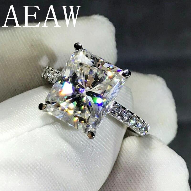AEAW 4CT Radiant Cut GH Moissanite แหวนหมั้นแหวนเงิน 925 เครื่องประดับสำหรับผู้หญิง VS F อัญมณี-ใน ห่วง จาก อัญมณีและเครื่องประดับ บน   1