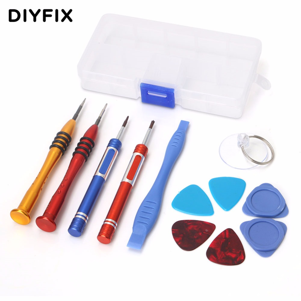 DIYFIX 12Pcs Mobile Phone Repair Tools Kit Screwdriver Set Screen Opening Tool for iPhone 7 7Plus 6 6s 5 5s with Tool Box Case new professional 38 in 1 mobile phone repair tools kit opening screwdriver for iphone 5s 5 4s 4 sumsang mulitifuntion tool set