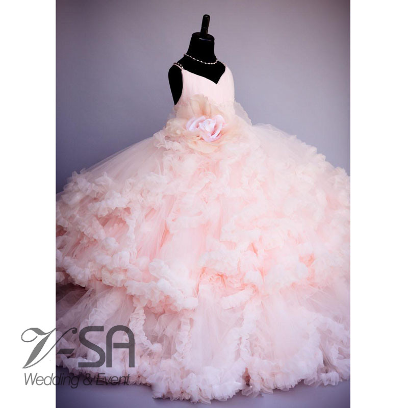 2016-Pink-Flower-Pageant-Dresses-For-Girls-Kids-Ball-Gowns-Tiered-Ruffles-Backless-First-Communion-Dresses (2)_