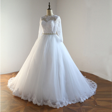 2017 New Design Custom Made Ball Gown Wedding Dresses With Beading Tull Court Train Wedding Gown