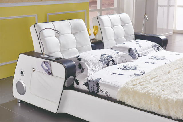 MYBESTFURN Musical Genuine Leather Bed, Multi-functional, Music, MusInduction lamp Light, Table, Modern Round Bed C573