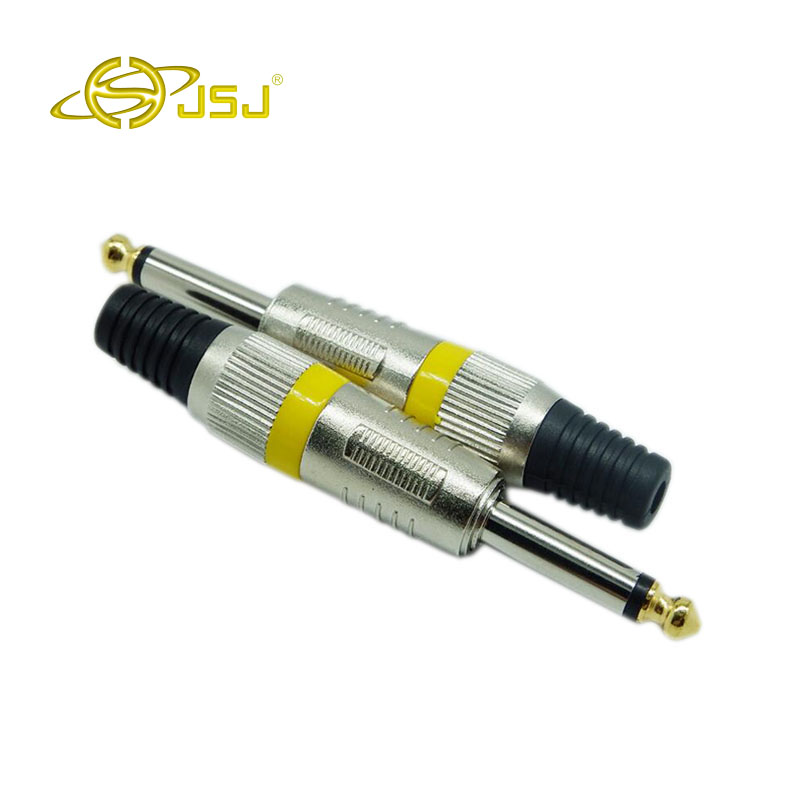 JSJ 6.35mm 6.5mm connector mono audio plug jack 6.5 amplifier microphone plug 6.35 mono sophomore core Drop 1pcs