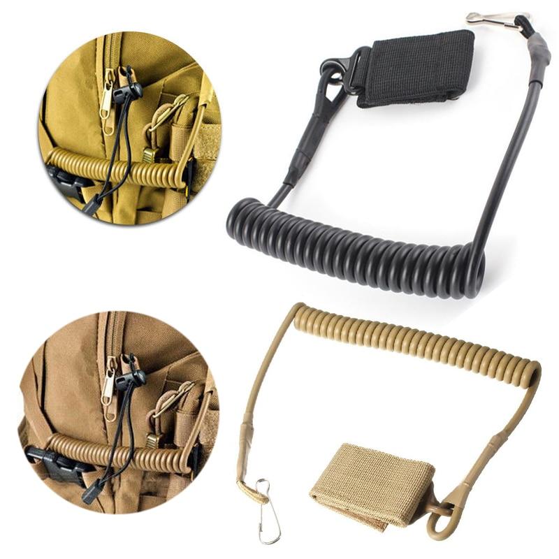 Molle Airsoft Coil Sling Military Elastic Belt Spring Strap Backpack Bag Rope Lanyard Gun Handgun Shooting Hunt Pistol Tool