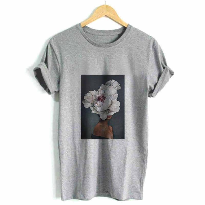 2019 New Harajuku Aesthetics Art Print Women Top Shirt Sexy Flowers Short Sleeve Tees Summer Tops Fashion Casual Tumblr T Shirt