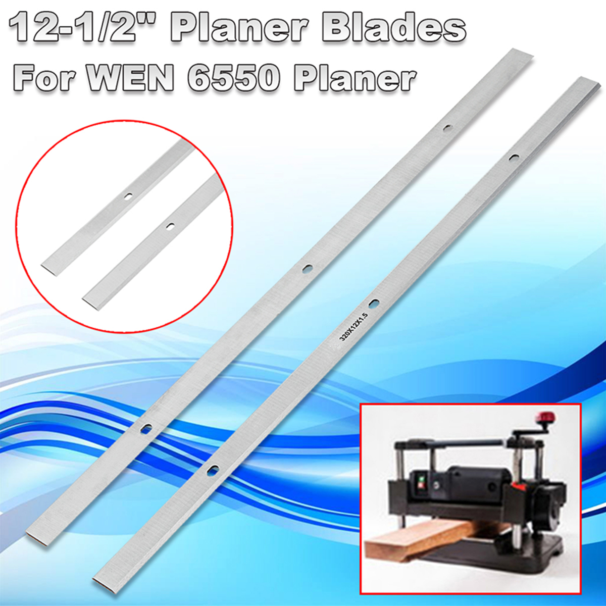 New 2Pcs Set 12-1/2'' High Speed Steel HSS Planer Blades Knives For WEN 6550 Planer For Soft Wood 320 Mm Planer Blades