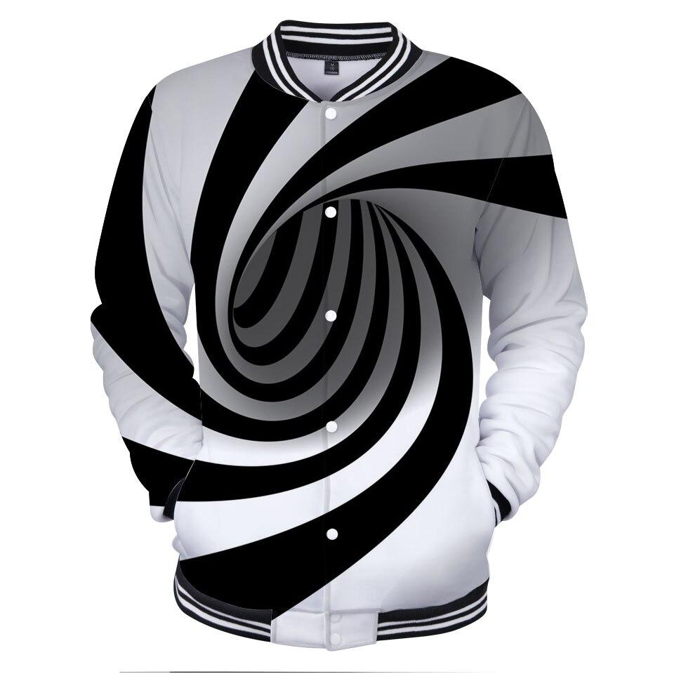 3D Vertigo Hypnotic Jakcets Fashion Design Funny Paisley Baseball Jackets woman Hot Sale Autumn Splice Sleeves Cool Coats