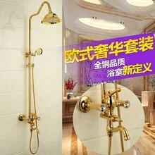Wandhalterung 8 zoll Badezimmer Dusche Wasserhahn Mischbatterien Einzigen Handgriff mit Handbrause Gold Fertig Dusche Set
