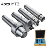 MT2 4pcs Set Live Center Drive Spur Driver Dead Center With Wooden Case For Metalworking Wood