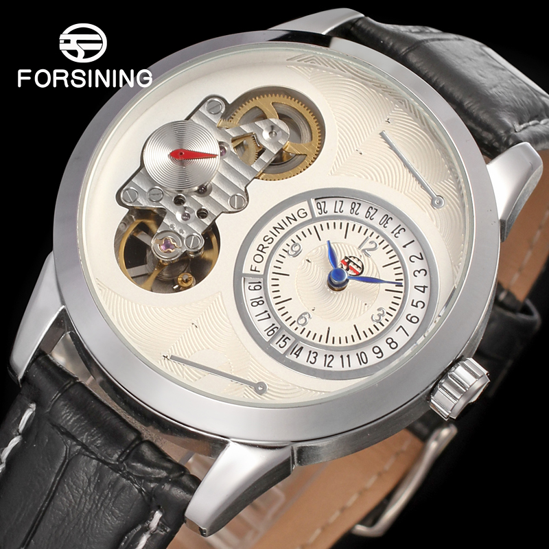 Famous brand FORSINING FSG8015Q3S2 new Quartz silver men wristwatch tourbillon black leather strap shipping free все цены