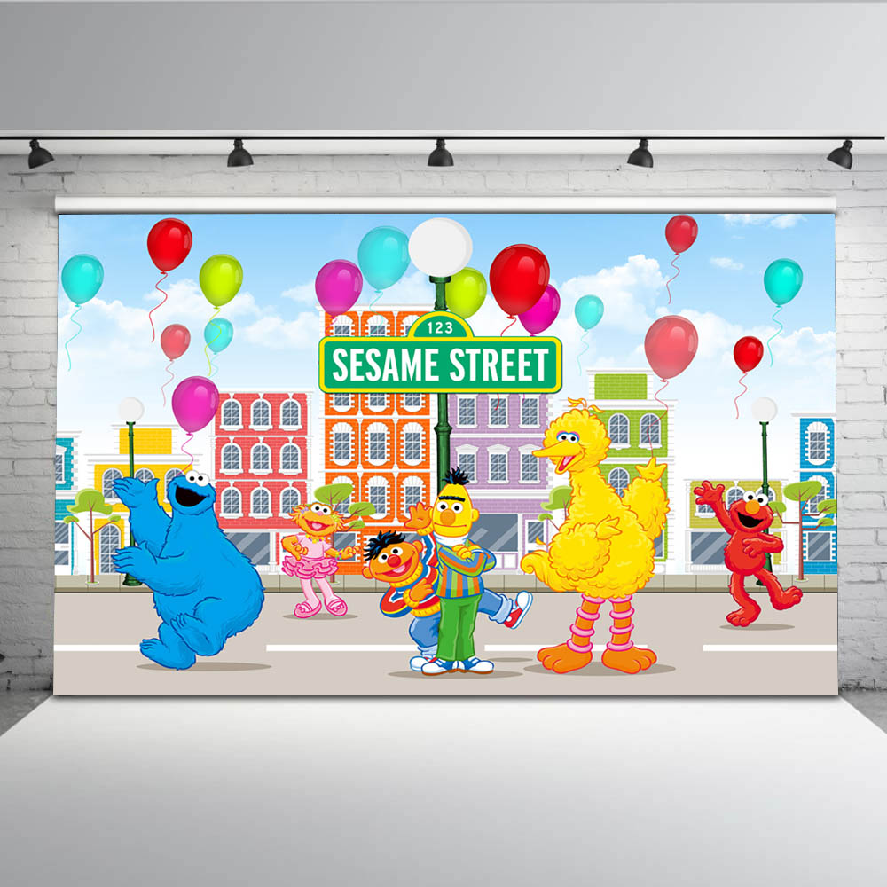 Us 9 47 36 Off Newest Vinyl Sesame Street Party Backdrop For Elmo Birthday Cartoon Character Backgrounds Photo Shoot Kids Balloon Backdrops In