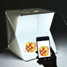ポータブルフォトスタジオ撮影テント、 16 インチ小型折りたたみledライトボックスソフトボックスキットと 4 色の背景、