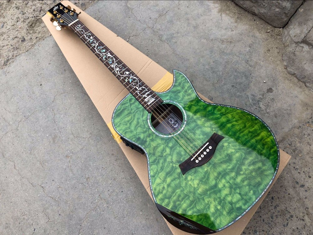 free shipping top quality gear OEM promotion guitar cutaway solid spruce green guitars  acoustic electric guitar free shipping top quality gear OEM promotion guitar cutaway solid spruce green guitars  acoustic electric guitar