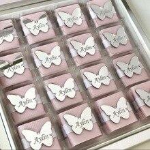 Изготовленные на заказ зеркальные бирки, БУКВЕННОЕ название логотипа бабочки, персонализированные акриловые бирки для свадьбы детский душ шоколадные сувениры