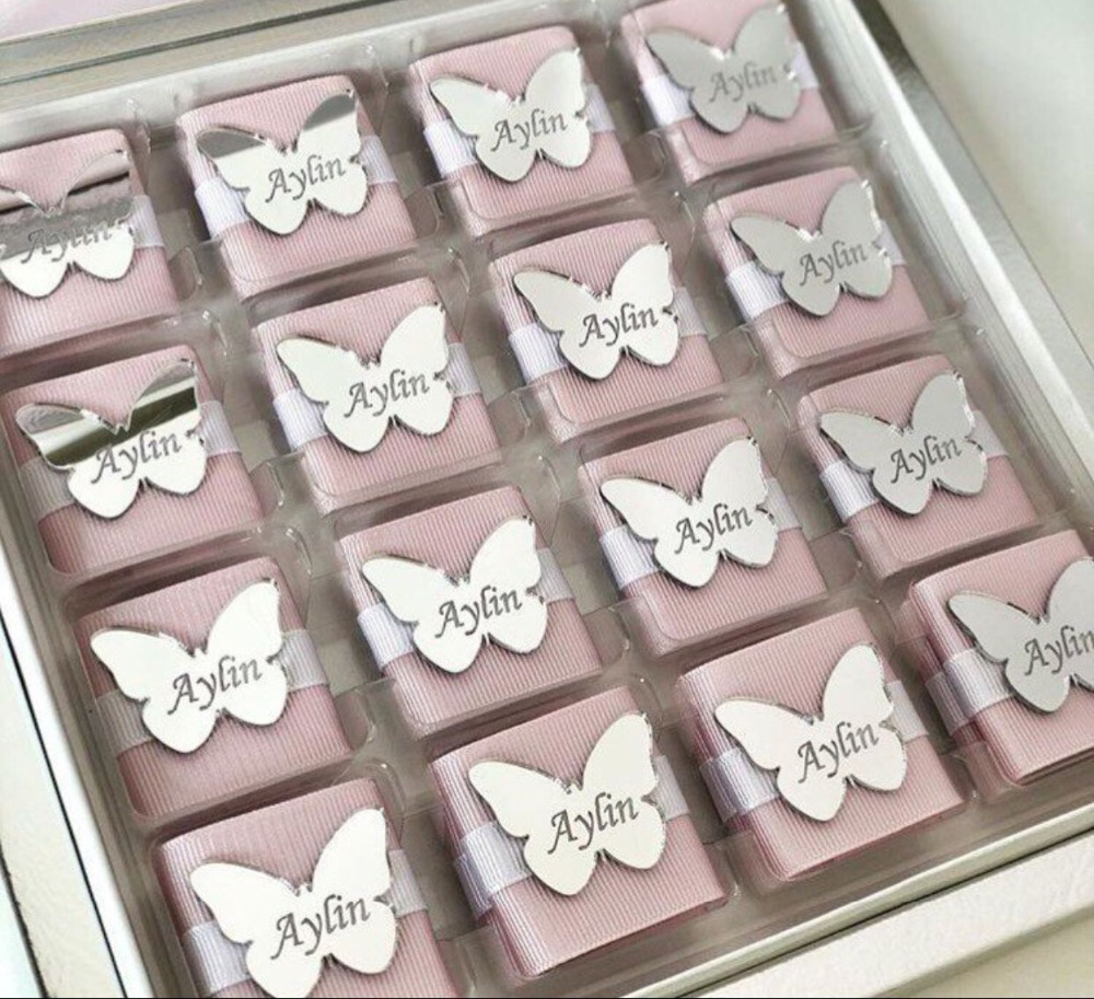 Custom Made Mirror Tags, Butterfly Lettering Name Logo, Personalized Acrylic Tags For Wedding Baby Shower Chocolate Favors