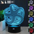 HUI YUAN Abstraction 3D Night Light RGB Changeable Mood Lamp LED Light DC 5V USB Decorative Table Lamp Get a free remote control