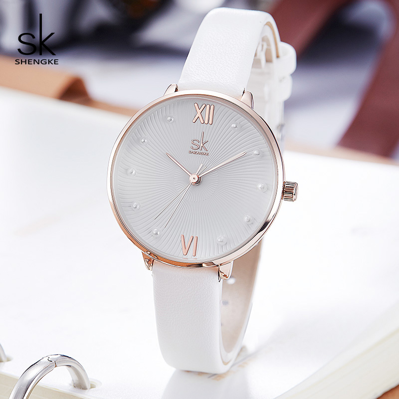 Shengke Casual Pearl Dial Quartz Women Watch White Leather Ladies Watch Reloj Mujer 2019 Women Day Gift Watches Zegarek Damski