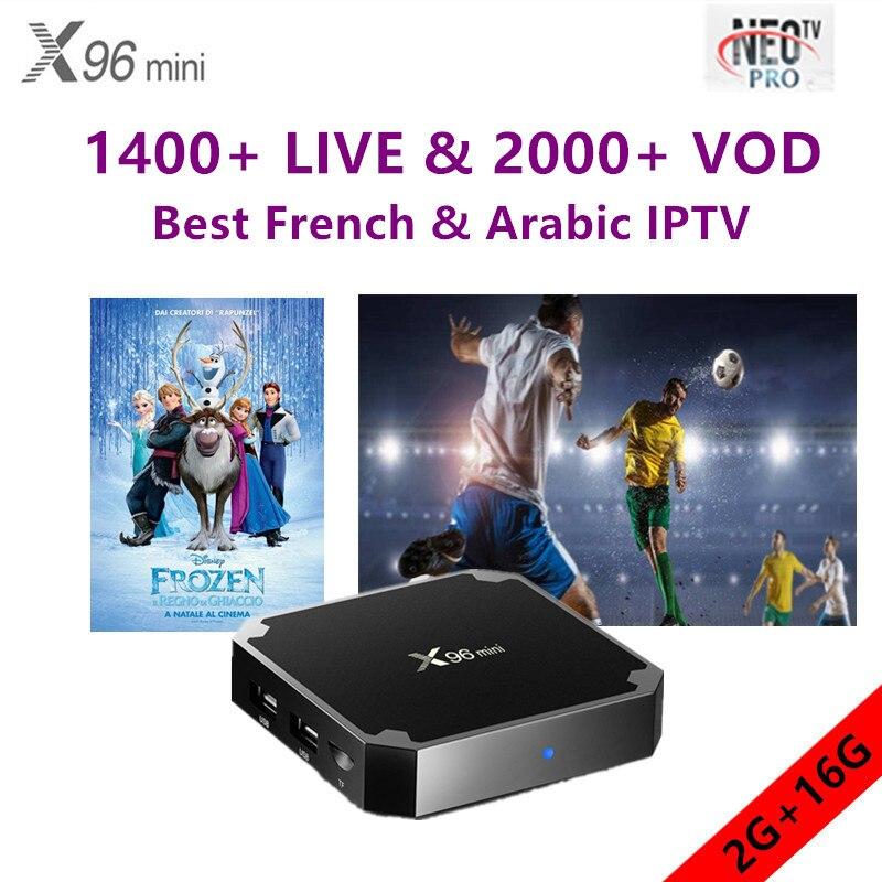 X96mini Android tv box 7.1.2 pour smart tv avec neo iptv 1 année meilleur Français Arabe Belgium European qhdtv m3u