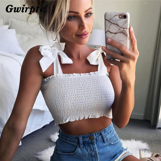 021cb78ad2e Gwirpte 2018 New Summer Autumn Tube Crop top Women Bow Tie Strap Ruched  tank Top Lettuce
