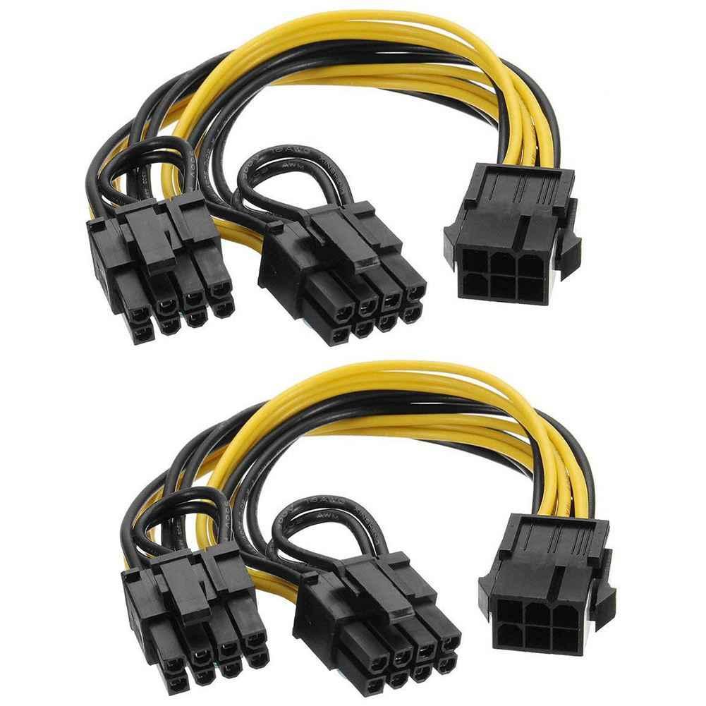 6 Pin untuk Dual PCIe 8 Pin (6 + 2) gambar Kartu PCI Express Adaptor Daya GPU VGA Y Splitter Kabel Ekstensi Pertambangan Kartu Video Powe
