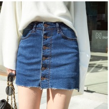 2019 Women Summer High Waisted A-line Denim Skirts Casual Single-breasted Plus Size