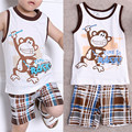 2pcs Toddler Kids Baby Cool Boys Cute Monkey Sleeveless Summer Outfits Sport T-shirt Tops+Pants Clothes Set