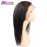 Allove 360 Синтетический Frontal шнурка волос Парик предварительно сорвал с волосы младенца прямо Синтетические волосы на кружеве Человеческие во...