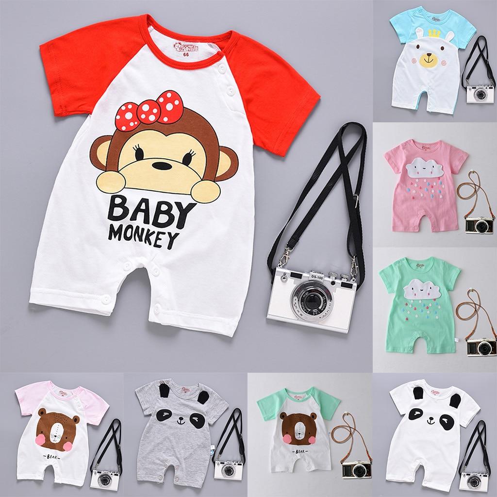 Hattfart Newborn Baby Boy Girls Infant Rompers Jumpsuit Outfits Clothes Toddler Cartoon Print Zipper Short Sleeve Bodysuit