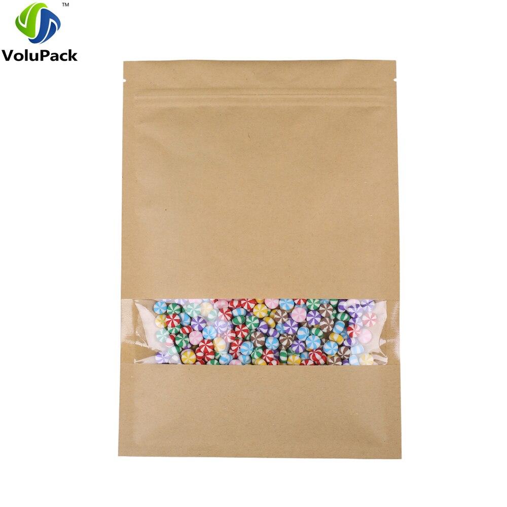 Прочная термогерметизация, плоская крафт-/майлярная сумка на молнии, коричневая крафт-сумка с окошком, подарки, пакеты для хранения снеков, ...