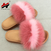 New Summer Women's Shoes Real Fox Fur Sandals And Slippers Women's Home Fashion Non Slip Fur Casual Beach Shoes Word Drag