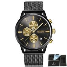 Fashion Men's Luxury Chronograph Luminous Black Quartz Watch Simulated Stainless Steel Mesh